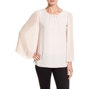 Vince Camuto Pink Blouse Pleated Bell Sleeve, 3X